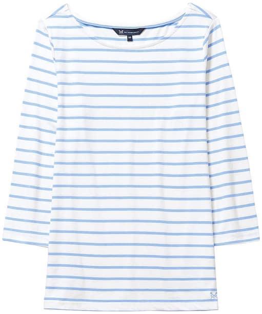 Women's Crew Clothing Essential Breton Top - White Linen Bluebell