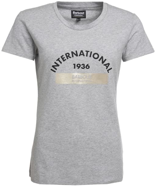 Women's Barbour International Scrambling Tee - Light Grey Marl
