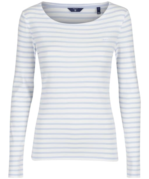 Women's GANT Striped Ribbed Top - Hamptons Blue