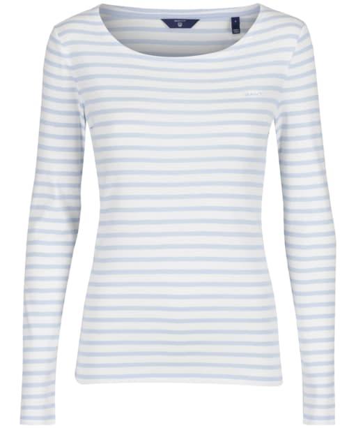 Women's GANT Striped Ribbed Top - Hamptons Blue