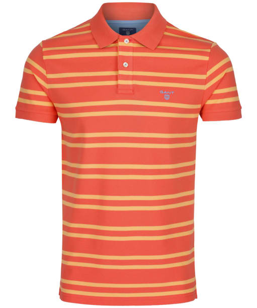 Men's GANT Three-Color Contrast Piqué Rugger - Strong Coral