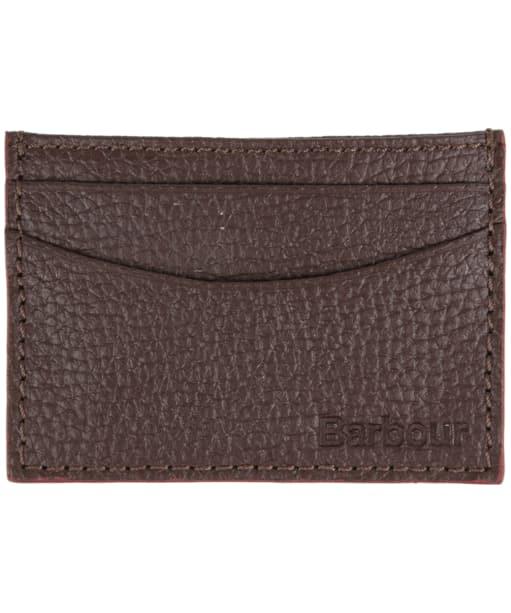 Men's Barbour Grain Leather Card Holder - Dark Brown