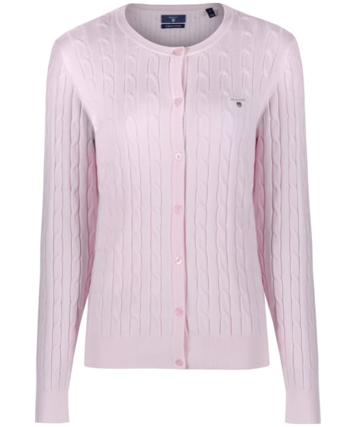 Women's GANT Stretch Cotton Cable Cardigan - Barley Pink