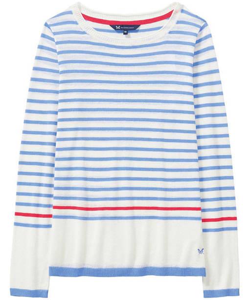 Women's Crew Clothing Holbeton Jumper - Bluebell / White Linen