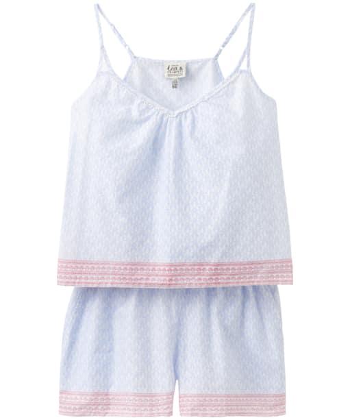 Women's Joules Lulu Woven Nightwear Set - White Seahorses