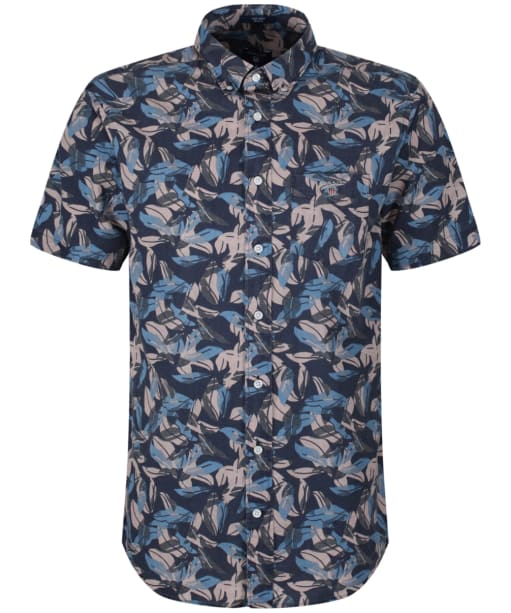 Men's GANT Short Sleeved Airy Leaves Shirt - Classic Blue