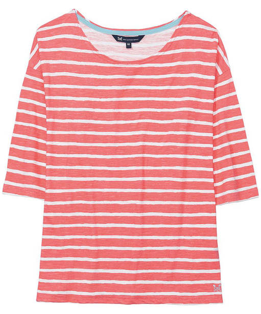 Women's Crew Clothing Drop Shoulder Tee - Coral / Optic White
