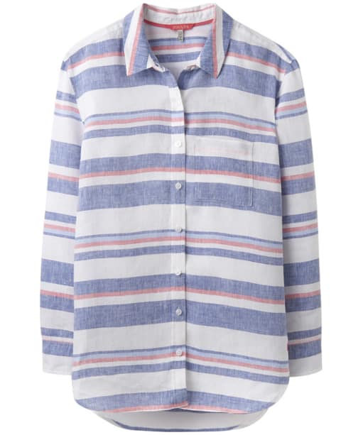 Women's Joules Jeanne Printed Linen Shirt - Blue / Red Stripe