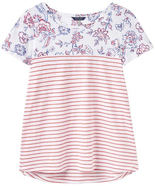 Women's Joules Suzy Woven Jersey Mix Top - White Indienne Floral