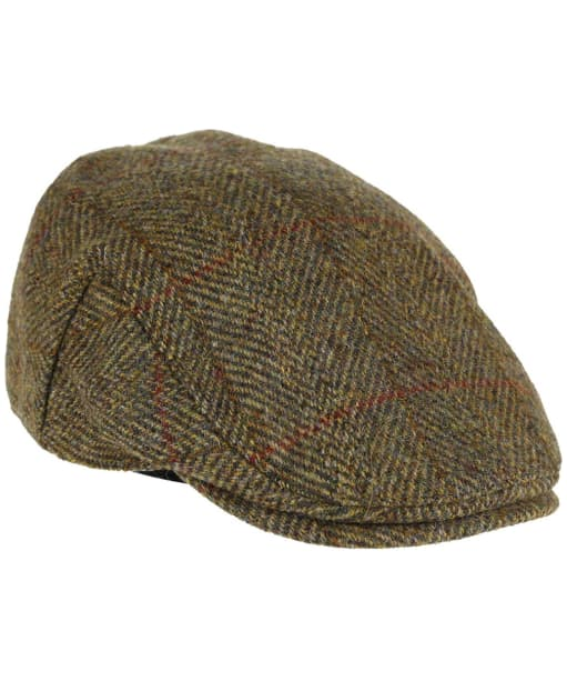 Heather Highland Harris Tweed Flat Cap - Olive / Gold