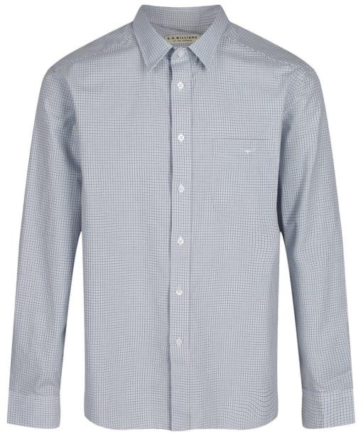 Men's R.M. Williams Collins Standard Collar Shirt - White / Blue / Green