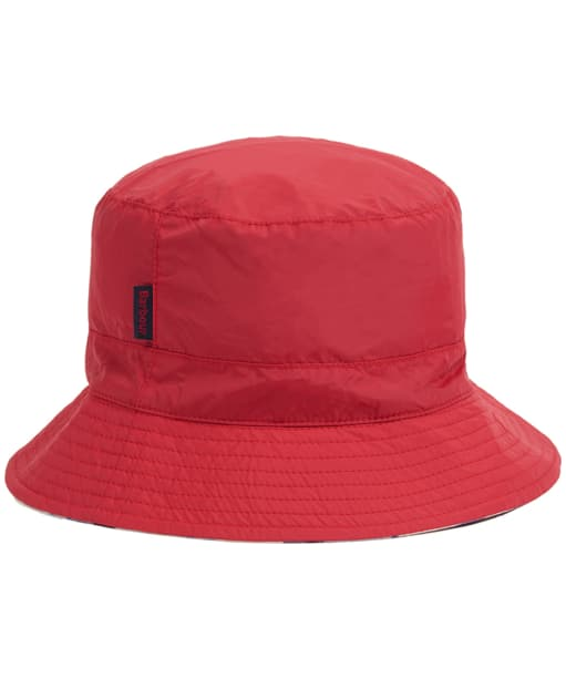 Women's Barbour Shield Waterproof Bucket Hat - Tartan Red