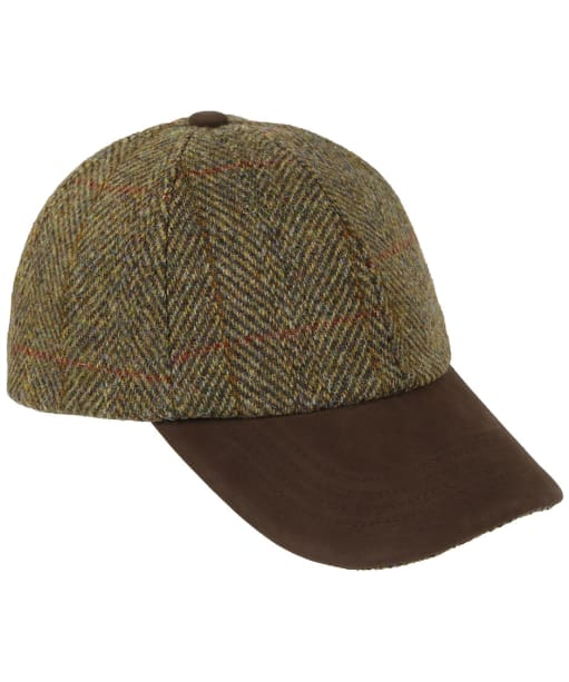Heather Glencairn Harris Tweed Leather Peak Baseball Cap - Olive / Gold