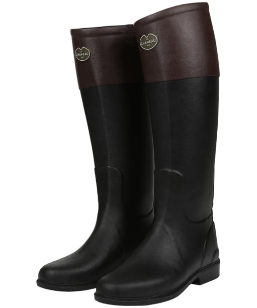 Women's Le Chameau Andalou Wellington Boots - Noir / Marron