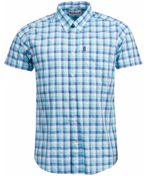 Men's Barbour Barge Short Sleeved Shirt - Aqua Check