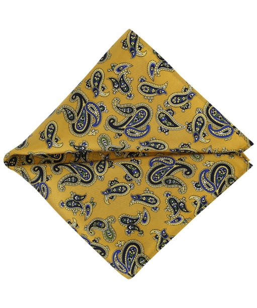 Men's Soprano Paisley Silk Pocket Square - Mustard