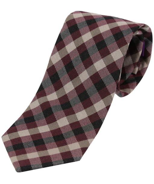 Men's Soprano Checked Wool Tie - Wine / Ivory / Black