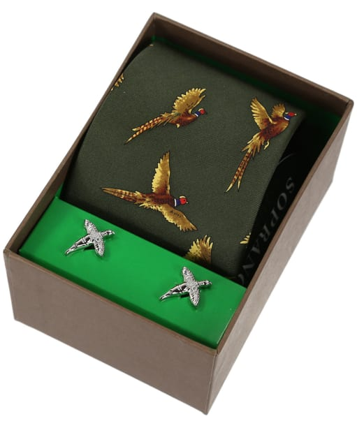 Soprano Pheasant Tie and Cufflinks Gift Set - New Green