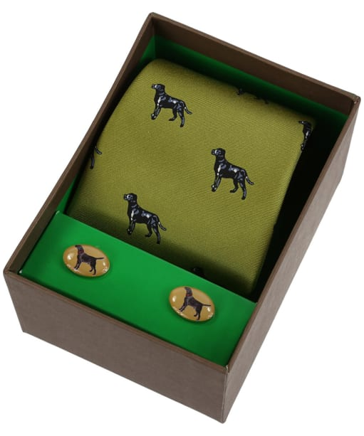 Men's Soprano Black Labradors Tie and Cufflink Set - Green