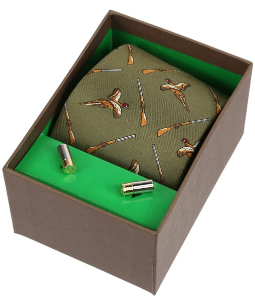 Men's Soprano Flying Pheasants and Shotguns Tie and Cufflinks Gift Set - Green