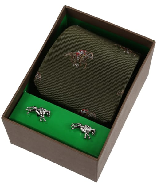 Men's Soprano Racing Tie and Cufflink Set - Green