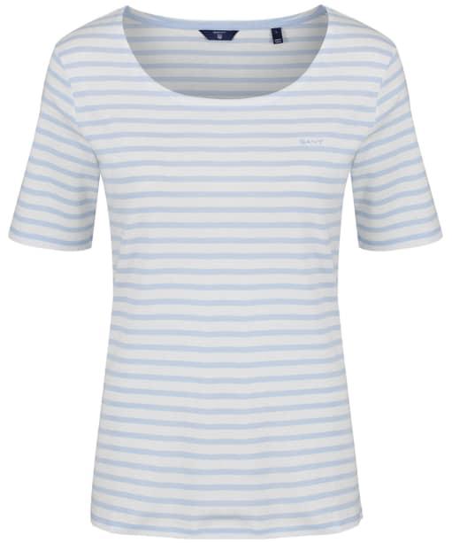 Women's GANT Striped Rib T-Shirt - Hamptons Blue