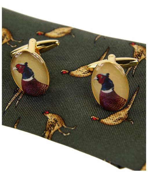 Men's Soprano Standing Pheasants Tie and Cufflink Set - Green