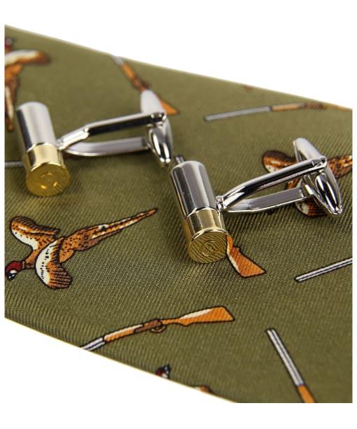 Men's Soprano Flying Pheasants and Shotguns Tie and Cufflinks Gift Set - Green