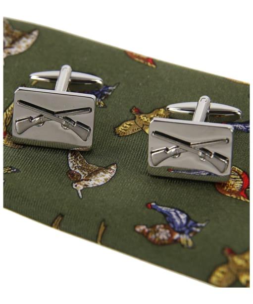 Men's Soprano Country Birds Tie and Cufflink Set - Green