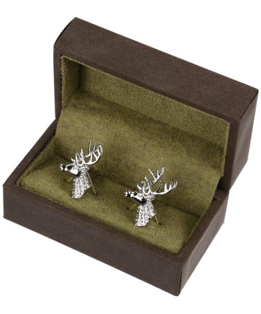 Men's Soprano Stags Head Cufflinks - Silver
