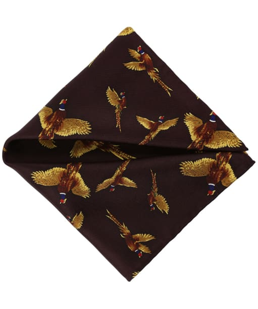 Men's Soprano Flying Pheasant Silk Pocket Square - Wine