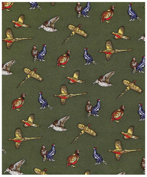 Men's Soprano Country Birds Silk Pocket Square - Green
