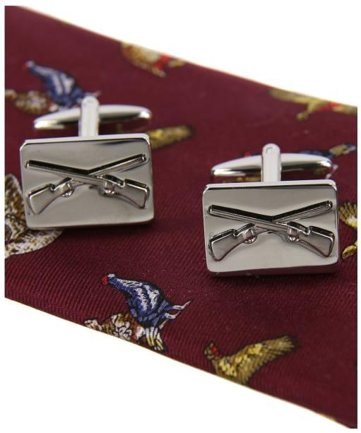 Men's Soprano Country Birds Silk Tie and Cufflink Set - Red