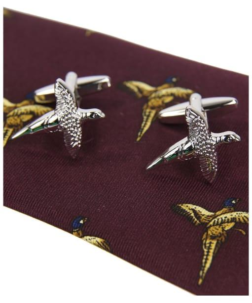 Men's Soprano Flying Pheasants Tie and Cufflink Set - Wine