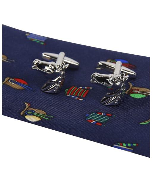 Soprano Jockey Racing Colours Tie and Cufflink Set - Navy / Multi