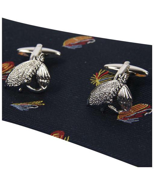 Soprano Fishing Flies Tie and Cufflink Set - Navy