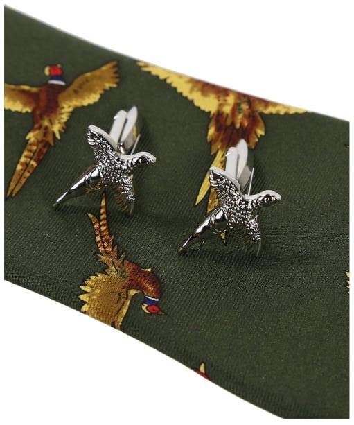 Soprano Pheasant Tie and Cufflinks Gift Set - New Green