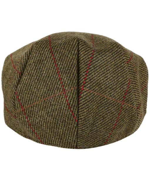 Heather Kinloch Waterproof British Tweed Flat Cap - Mid Olive / Red Check