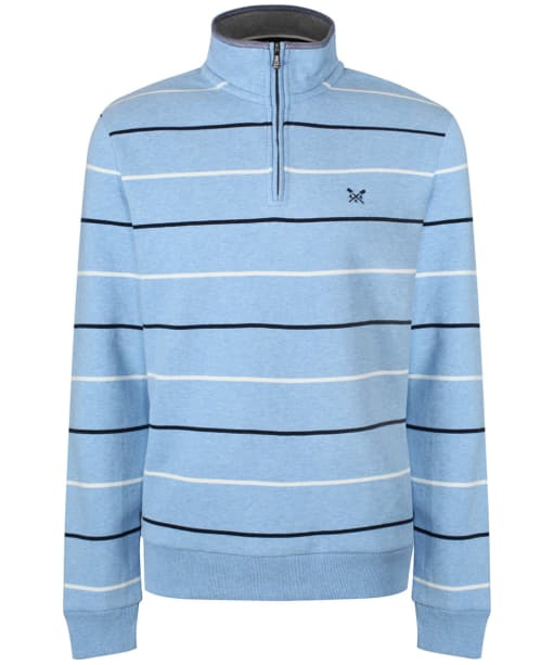 Men's Crew Clothing Classic Half Zip Sweater - Sky Marl Stripe