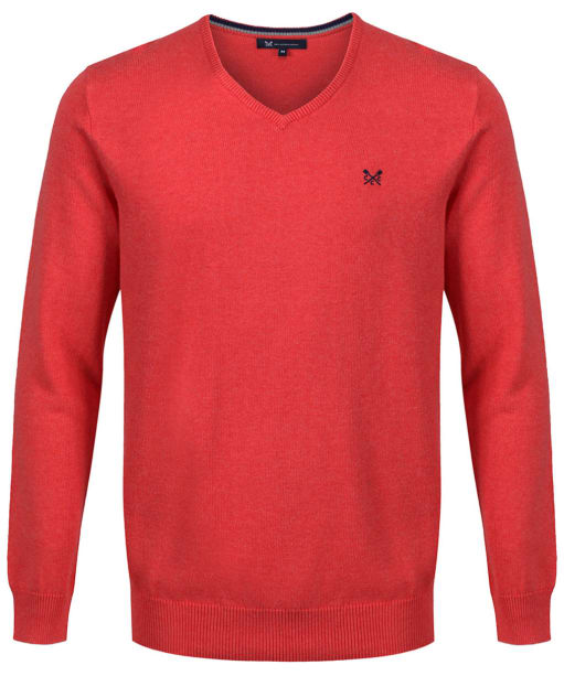 Men's Crew Clothing Foxley V-Neck Sweater - Sunset Pink Marl