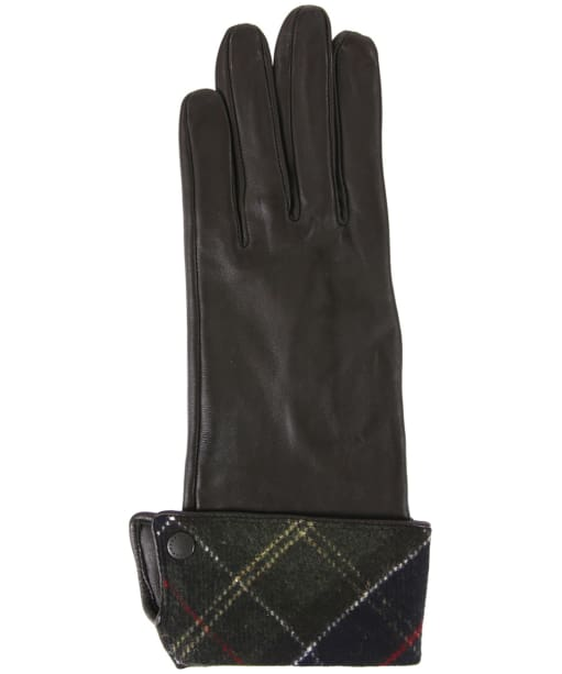 Women's Barbour Lady Jane Leather Gloves - Chocolate / Classic Tartan