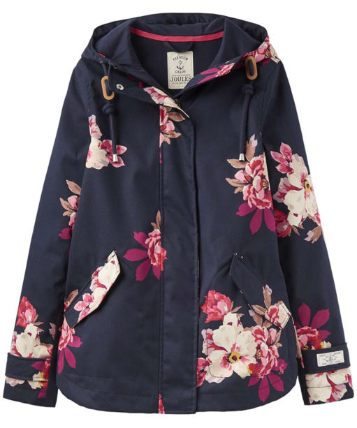 Women's Joules Coast Print Waterproof Jacket - Marine Navy Bircham Bloom