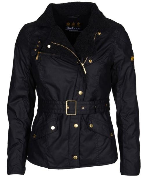 Women's Barbour International Wheelstand Waxed Jacket - Black