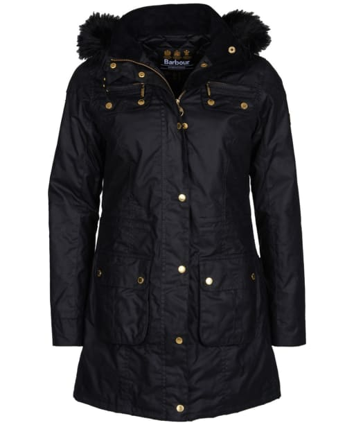 Women's Barbour International Slipstream Waxed Parka - Black
