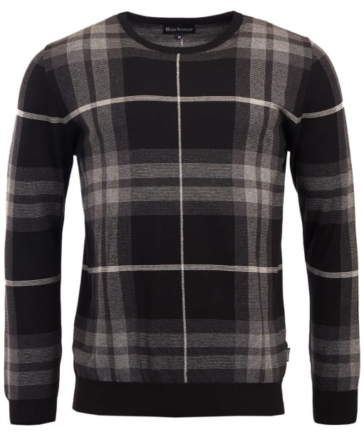 Men's Barbour Tartan Jacquard Crew Neck Sweater - Graphite