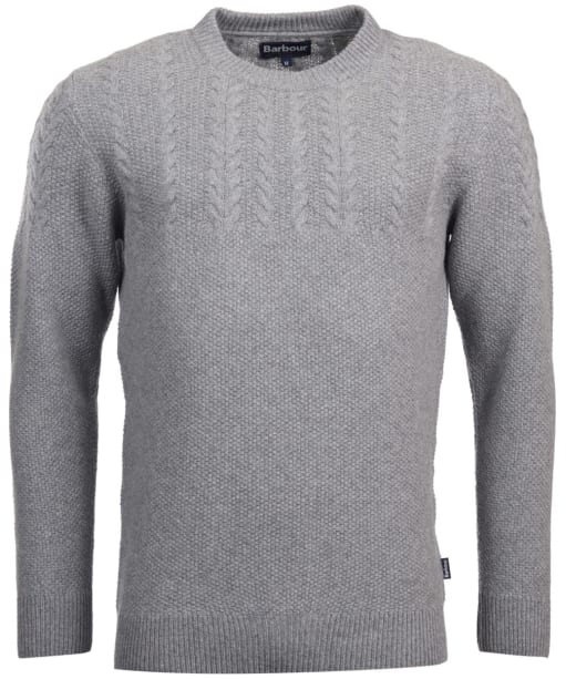 Men's Barbour Crastill Cable Knit Crew Neck Sweater - Grey Marl