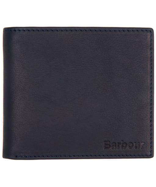 Men's Barbour Billfold Leather Wallet - Navy