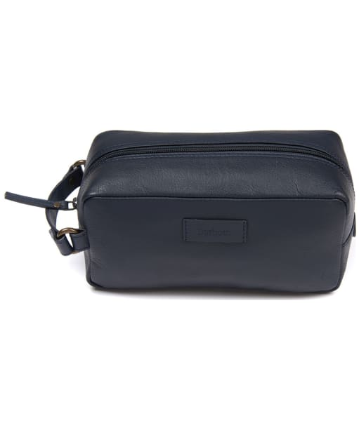 Men's Barbour Compact Leather Washbag - Navy