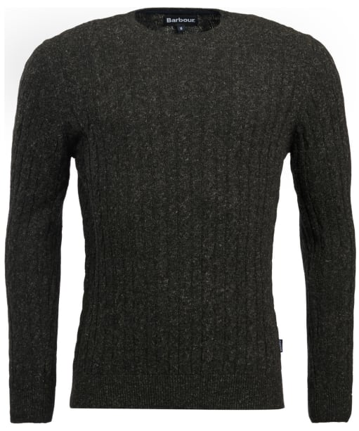 Men's Barbour Essential Cable Crew Neck Sweater - Charcoal