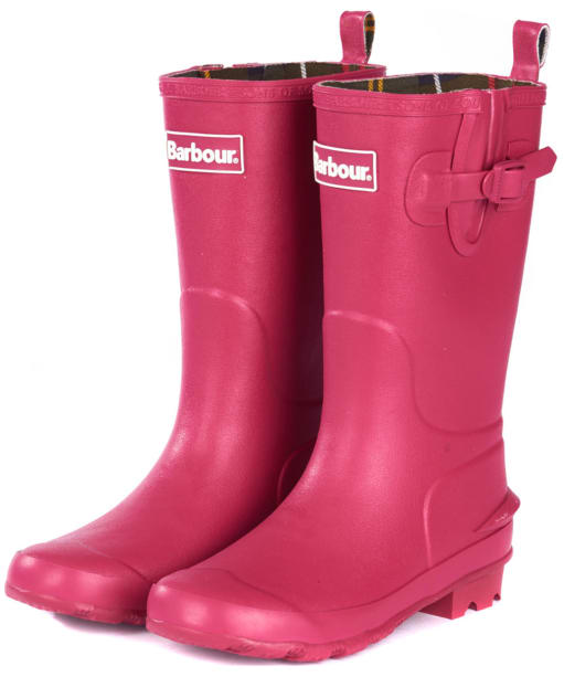 Barbour Kids Simonside Wellington Boots - Berry Pink